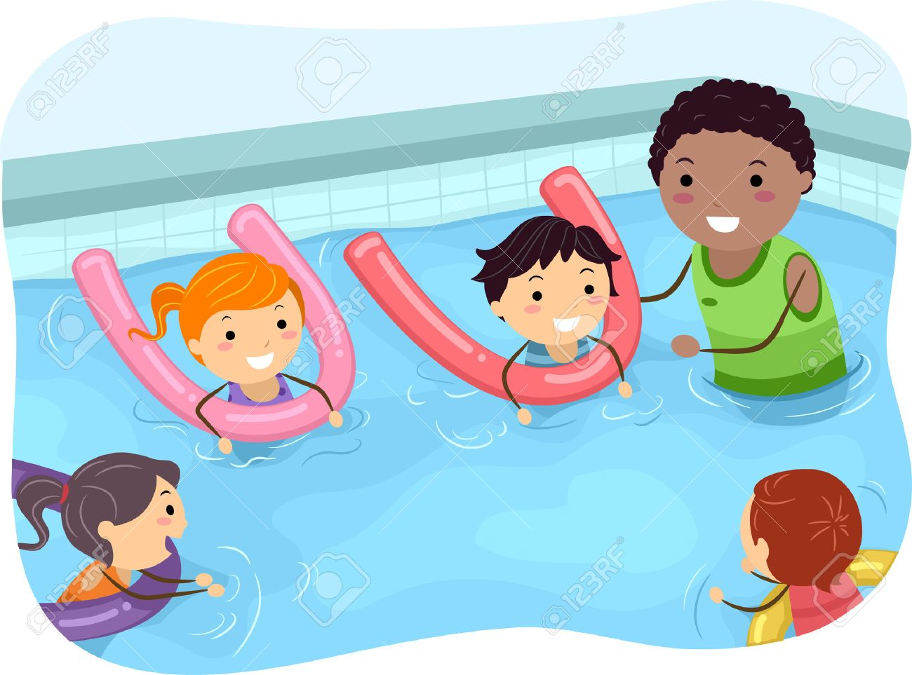 Illustration of Kids Being Taught How to Swim by a Swimming Coach - 35168865