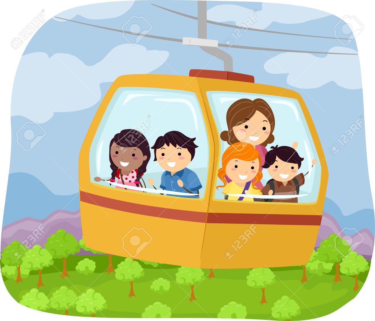 学校にケーブル車に乗って子供のイラスト ロイヤリティフリークリップ