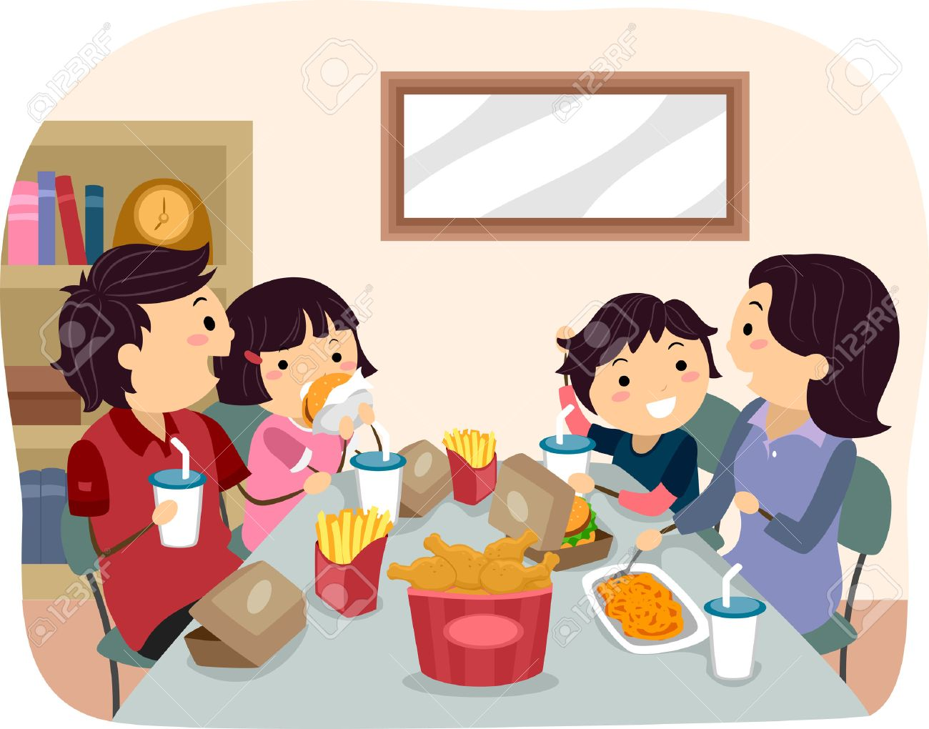 Illustration of a Family Eating Fast Food for Dinner - 35168893