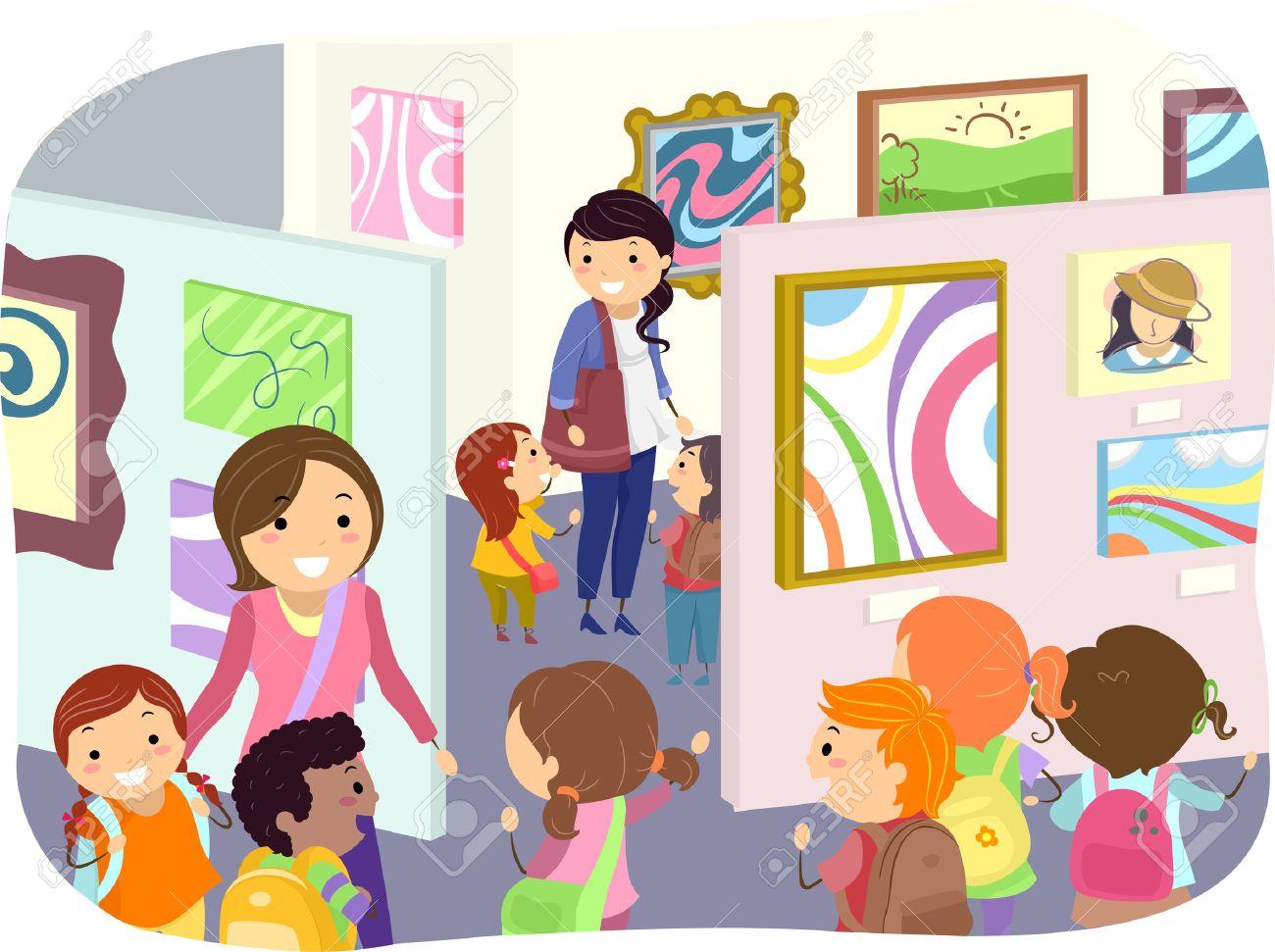 子供たちの絵画の芸術の展示物のチェックのイラスト ロイヤリティ