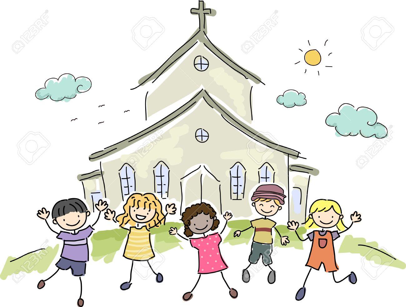 幸いにも教会の前に立っている子供たちのイラストのイラスト素材ベクタ