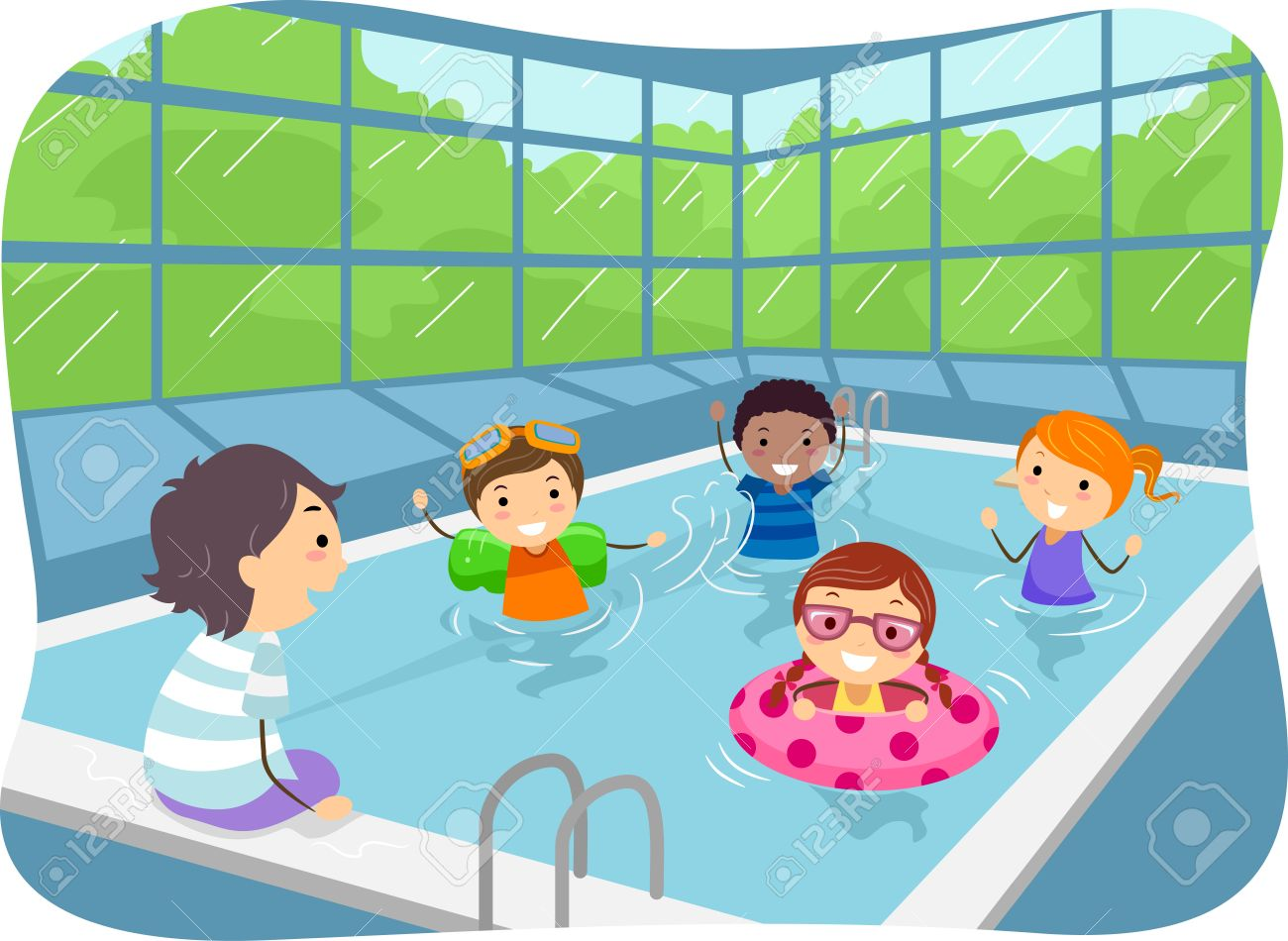 illustration of kids swimming in an indoor swimming pool royalty rh 123rf com Cartoon Swimming Pool Beach Clip Art