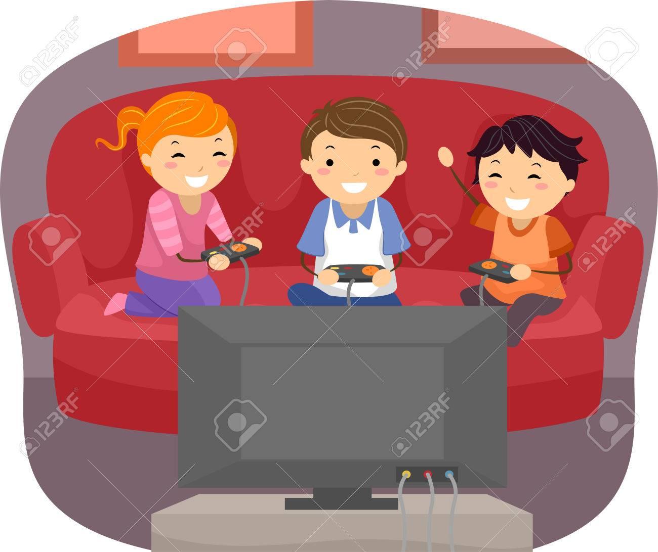 Ilustracion De Ninos Jugando Videojuegos En La Sala De Estar