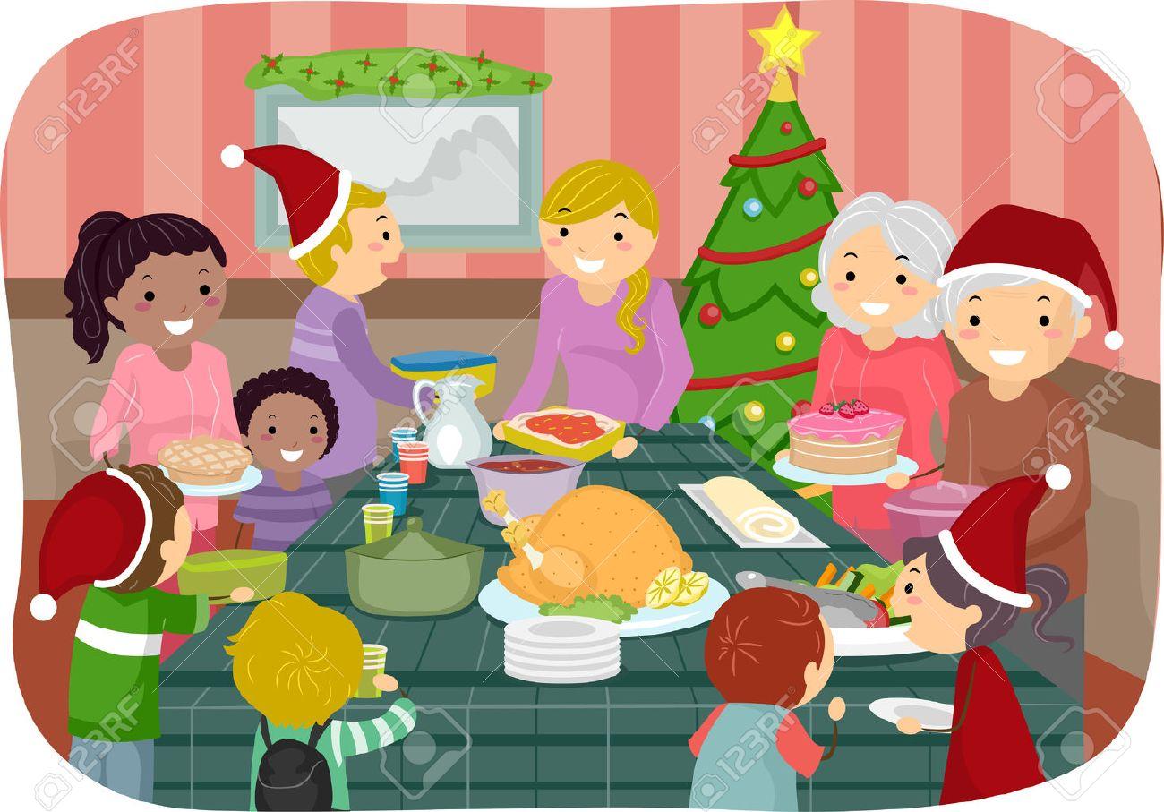 Fotos Cena Navidad Frinsa.Illustration Of Family Friends Celebrating Christmas Together