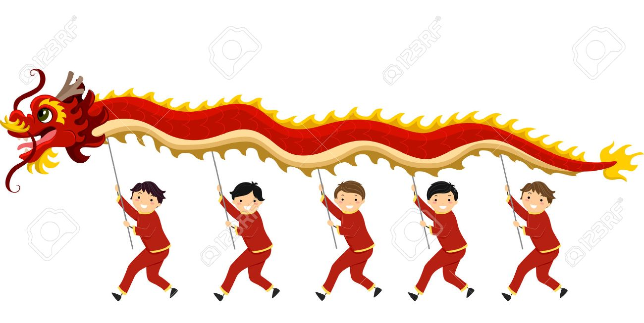 illustration illustration of kids performing a dragon dance for chinese new year