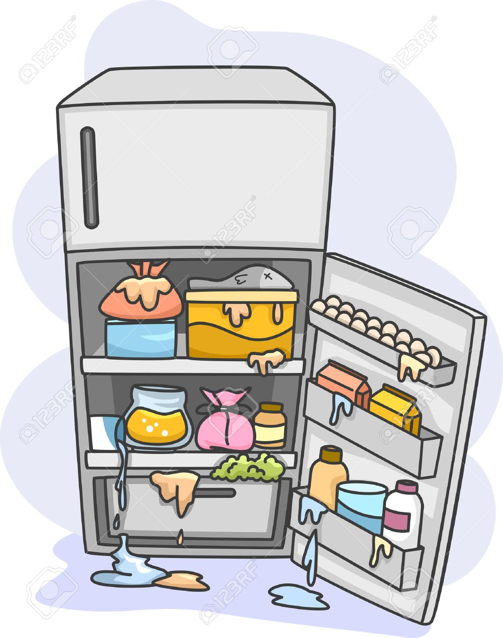 full refrigerator clipart. illustration of a messy refrigerator dripping with all sorts fluids stock 35416206 full clipart