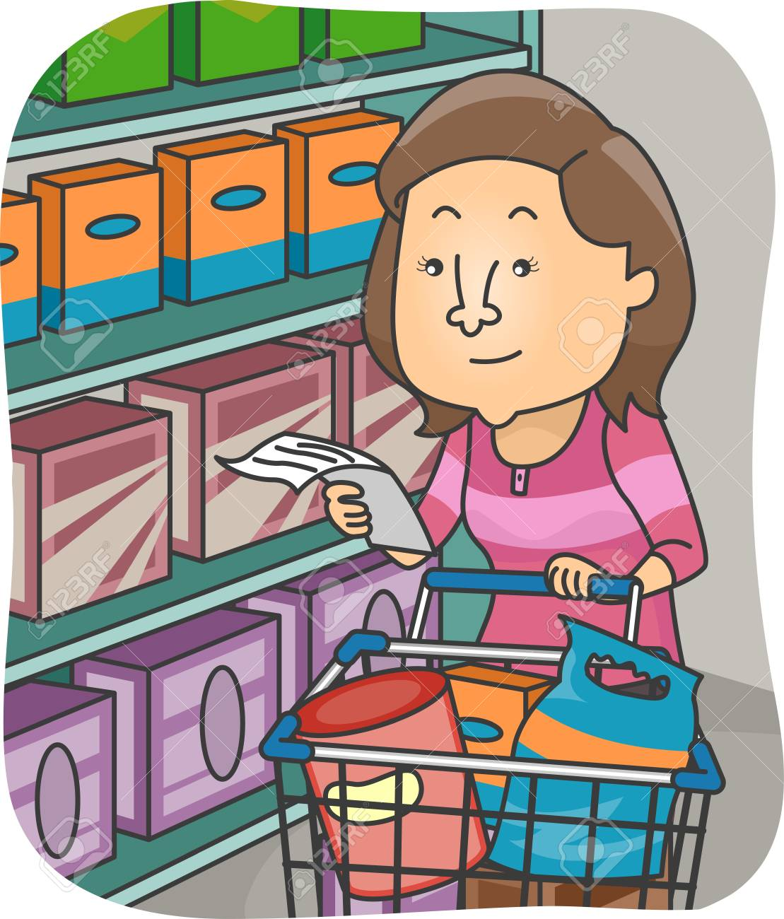 Illustration of a Woman Checking Her List While Shopping for Groceries Foto de archivo - 35845218