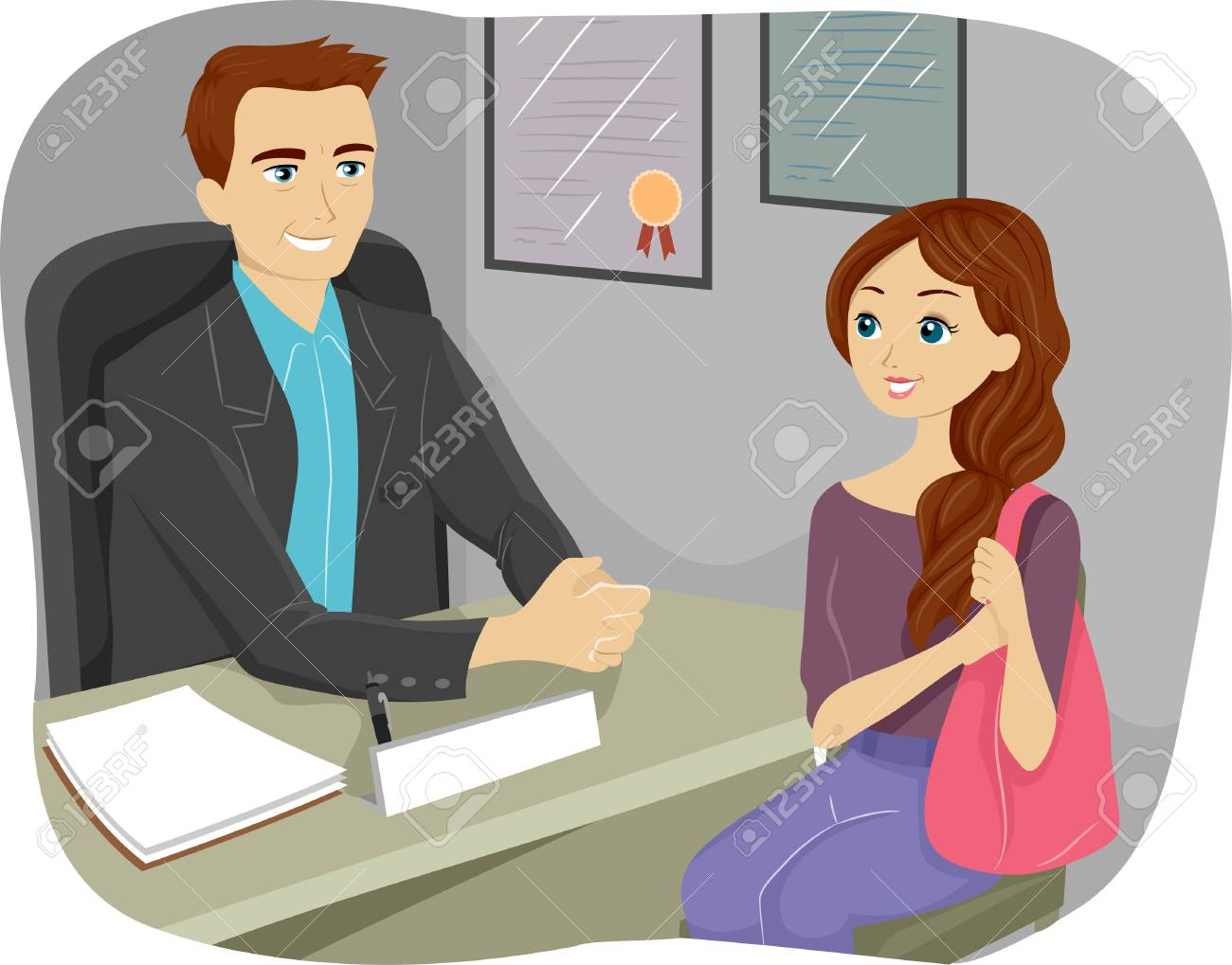 Illustration Of A Teenaged Girl Consulting Their Guidance Counselor