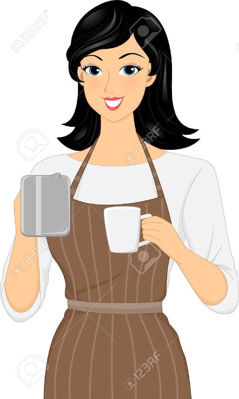 コーヒーのカップを準備する女性バリスタのイラスト の写真素材画像