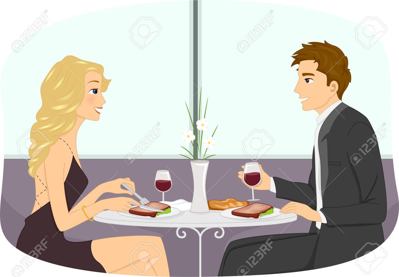 ロマンチックなディナー デート カップルの形式的な装いのイラスト