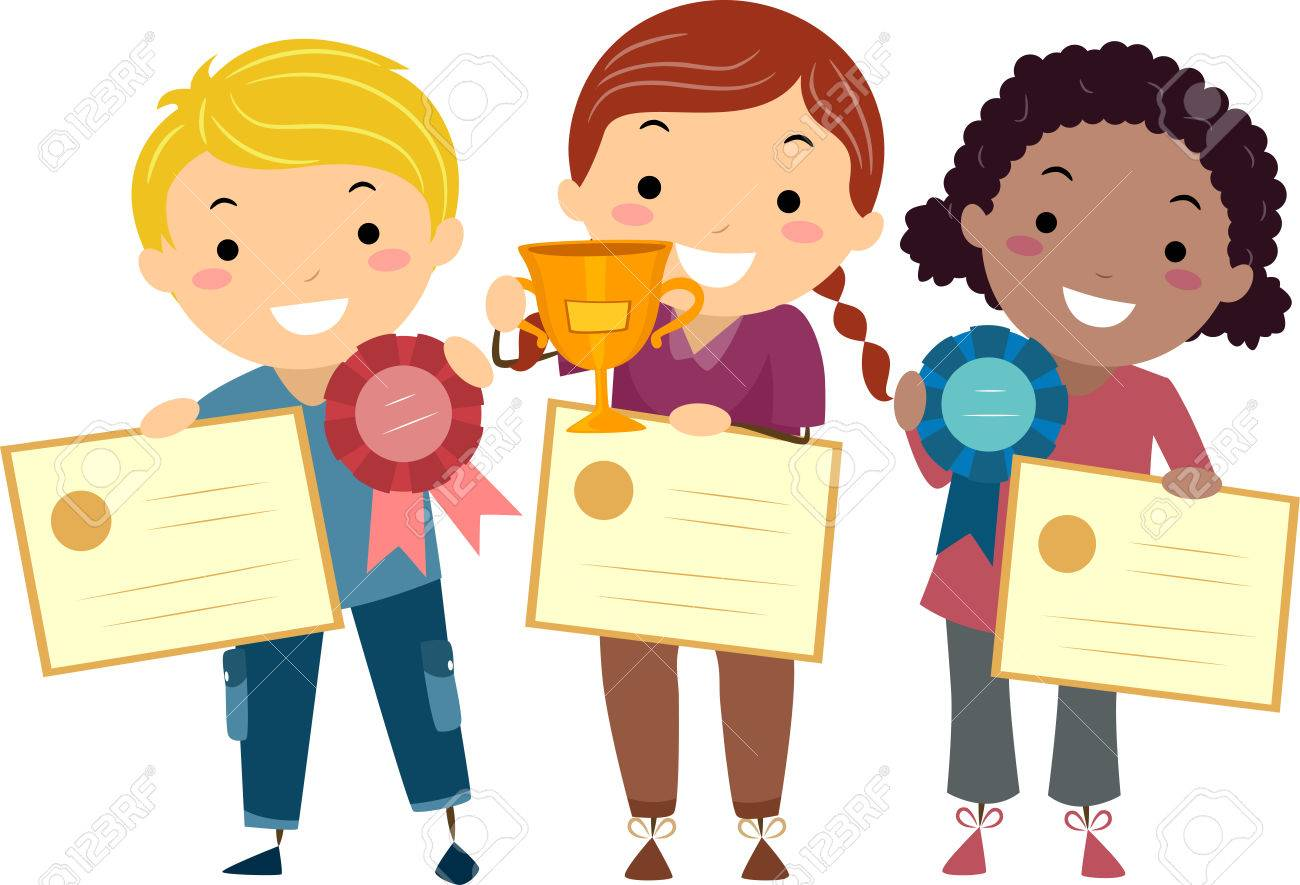 Stickman Illustration Of Kids Holding Certificates Ribbons Stock