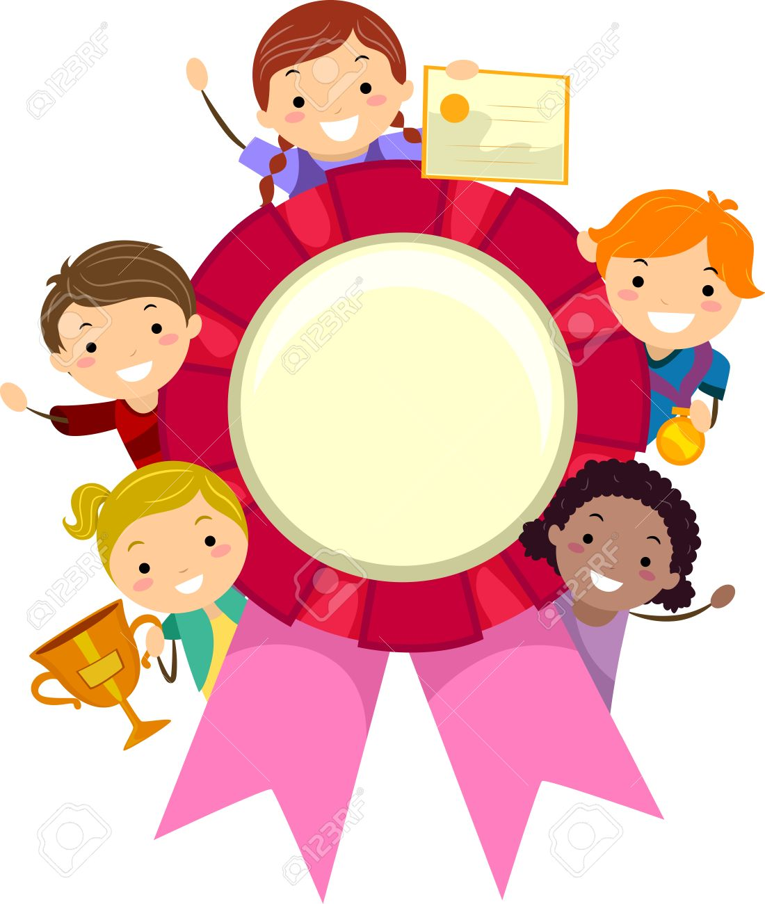stickman illustration of kids holding different awards stock photo rh 123rf com oscar award clipart awards clip art images