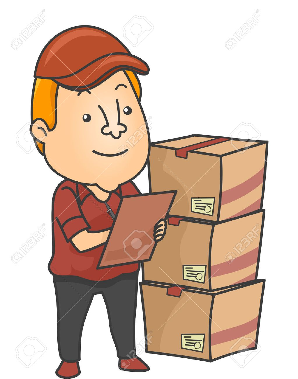 illustration of an inventory checker checking deliveries stock illustration 38484371 - Inventory Checker