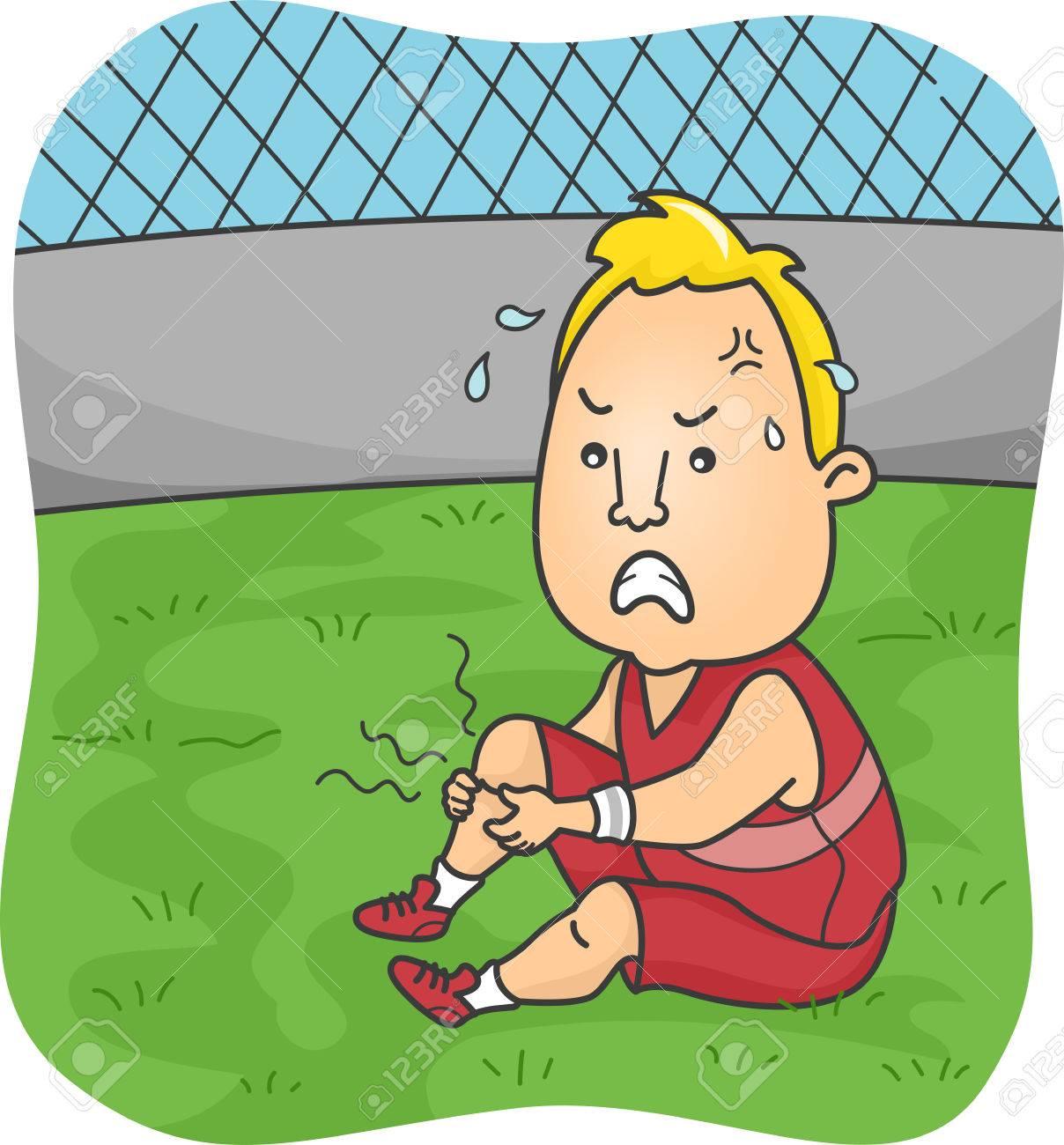 Illustration D'un Athlète Masculin Souffrant De Graves Crampes Dans ...