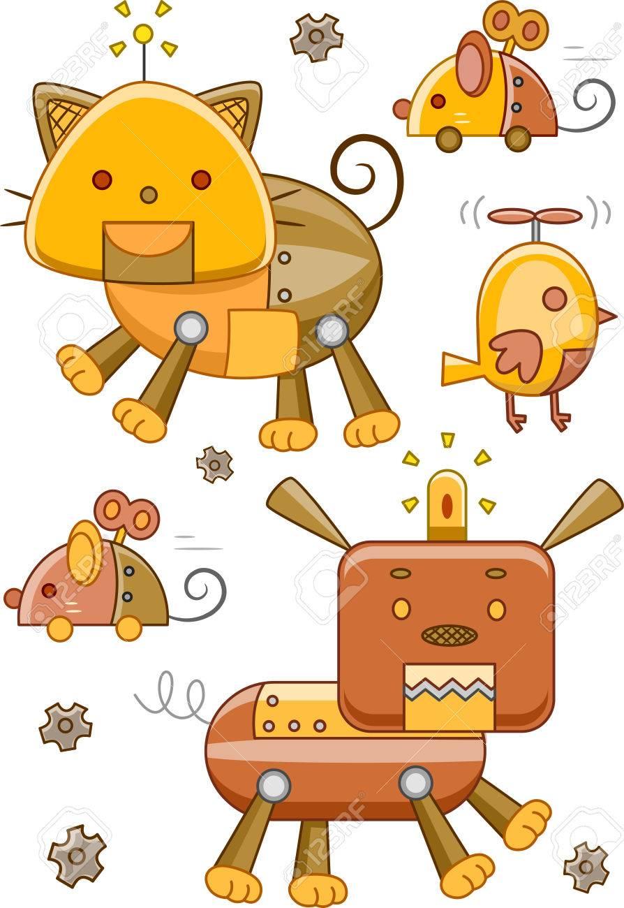 スチーム パンクなデザインのロボット動物のイラスト の写真素材画像