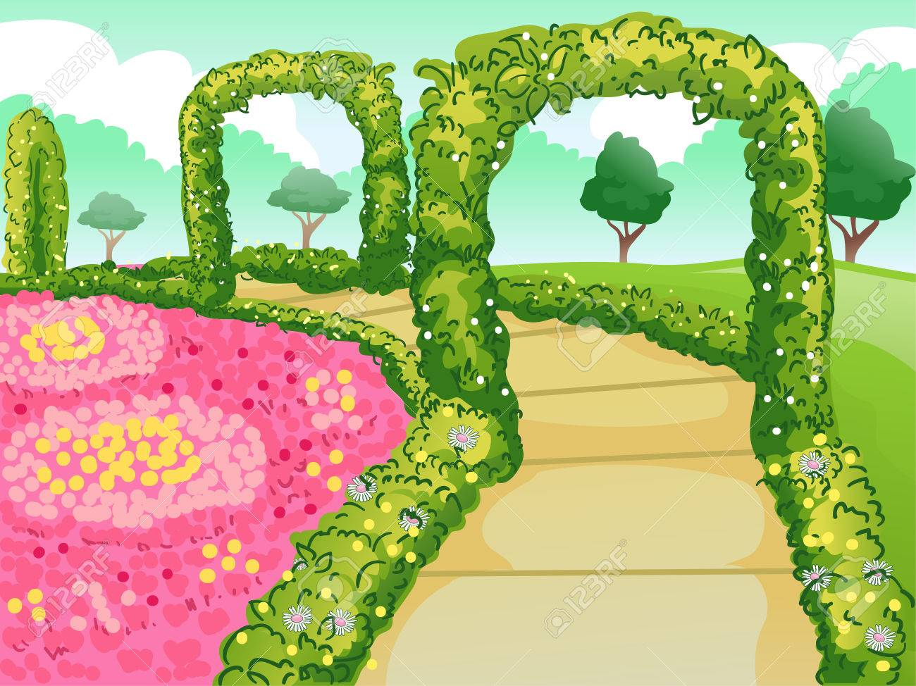 Illustration Of A Botanical Garden With A Path Lined With Flowers