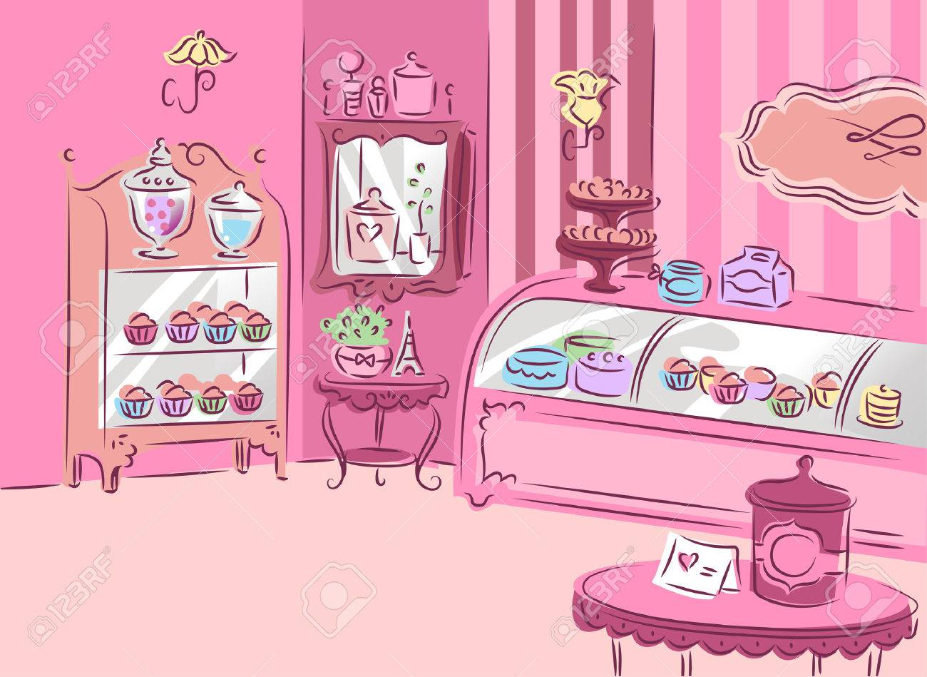 Illustration Of A Cute And Girly Patisserie Covered With Pink Furniture  Stock Illustration   41685607