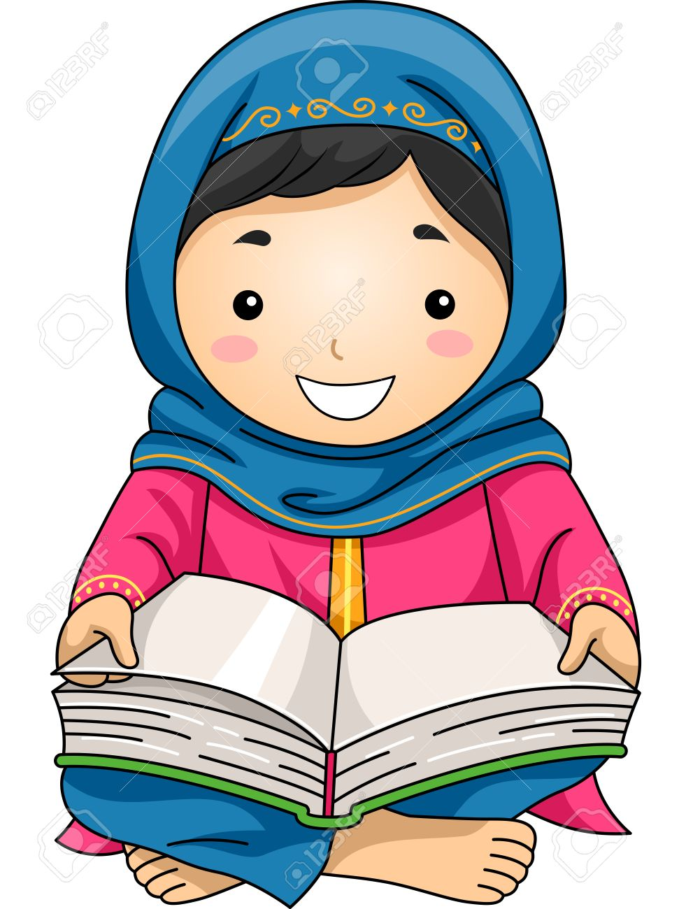 read clipart. illustration of a little muslim girl reading the quran stock 41685695 read clipart
