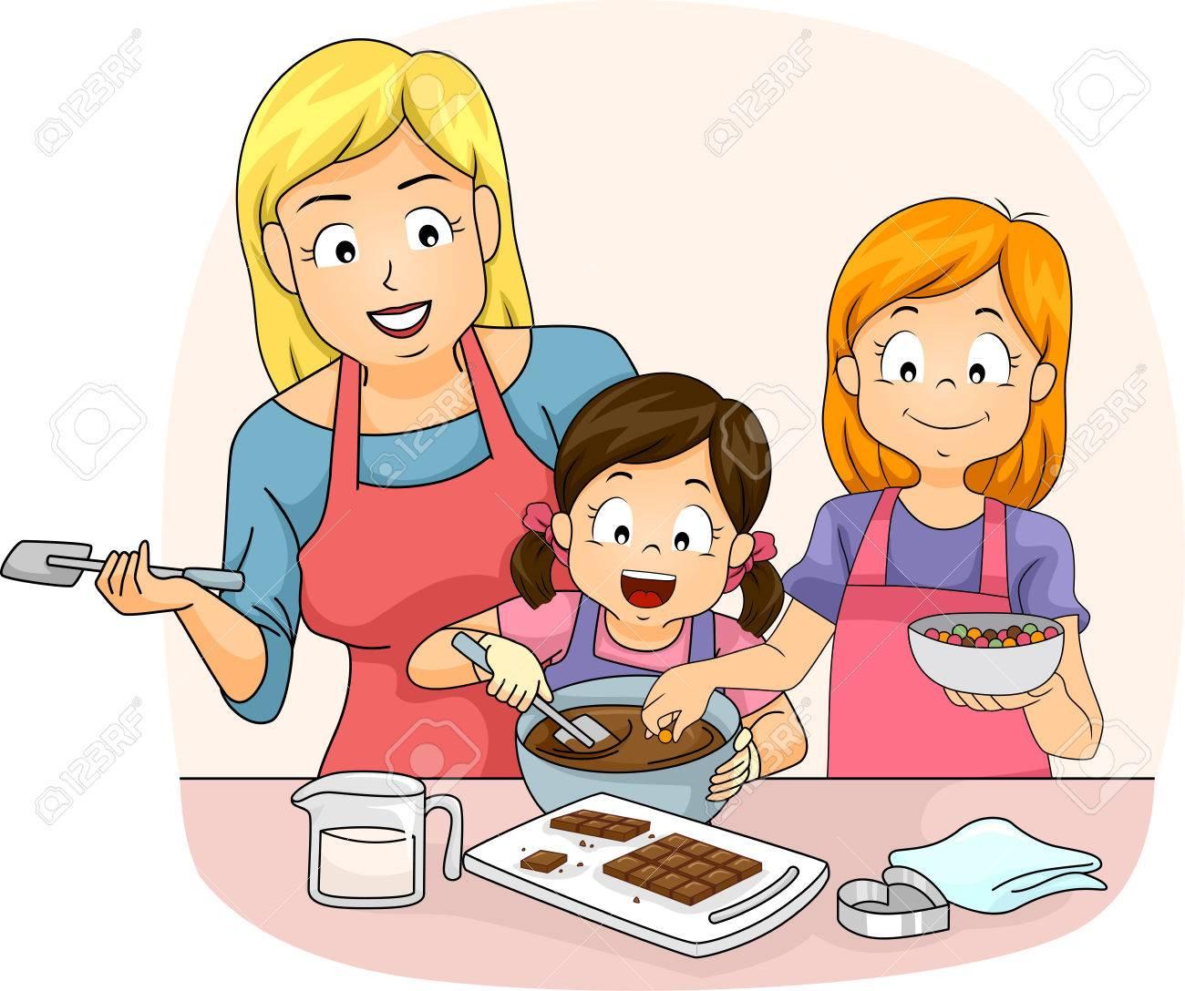 女の子のペアを教える先生イラスト チョコレートの作り方 の写真素材