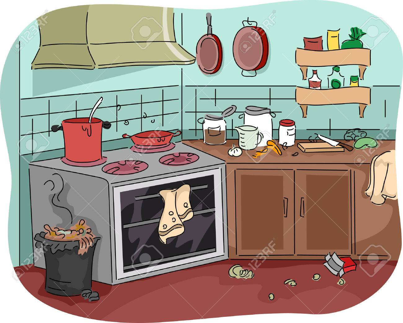 Illustration illustration of a dirty kitchen teeming with thrash