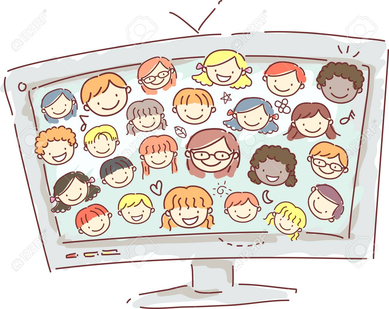 Doodle Illustration of a Computer Monitor Displaying the Faces of Little Kids - 43636424