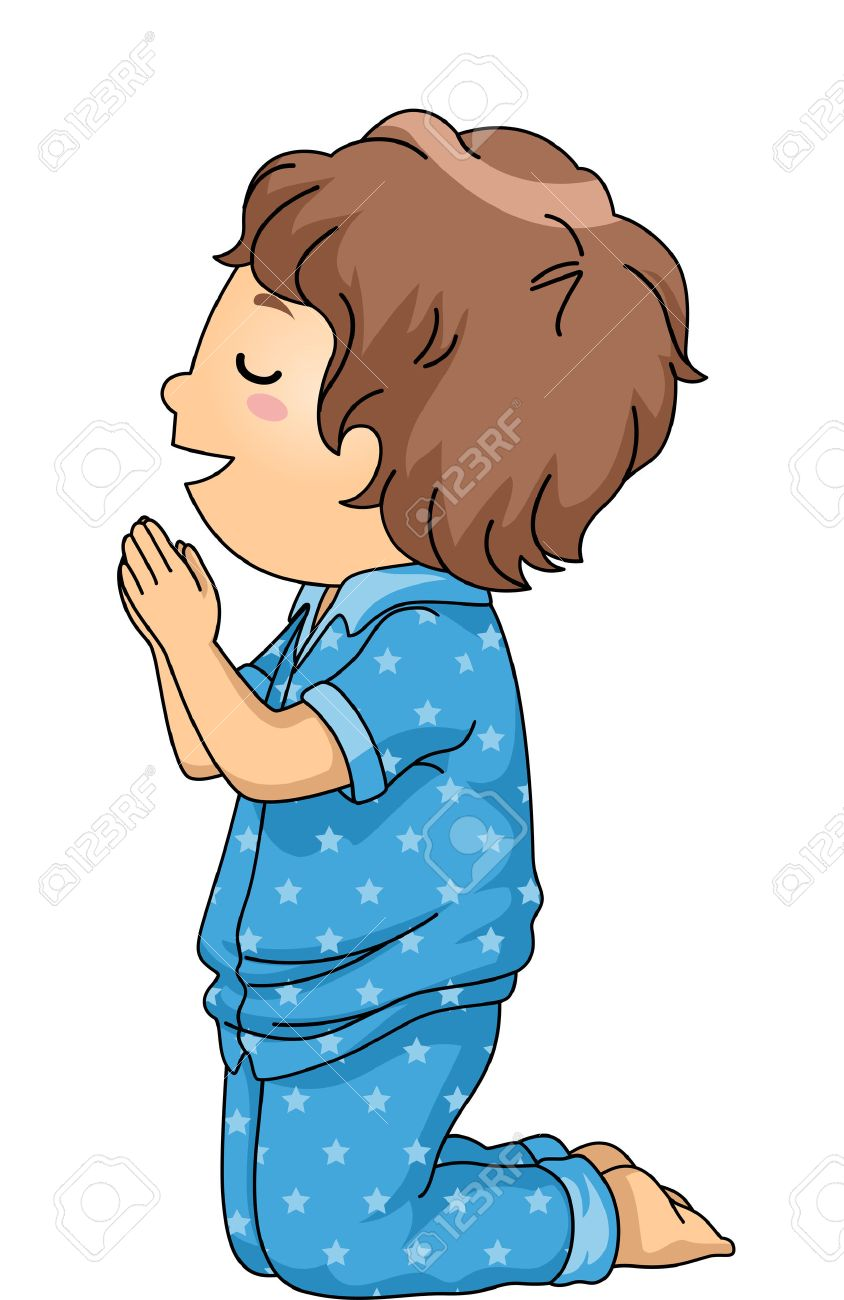 illustration of a boy in pajamas praying before going to bed stock