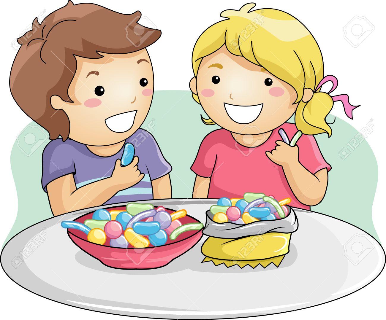 Illustration Of Little Kids Eating Gummy Candies Stock Photo ...
