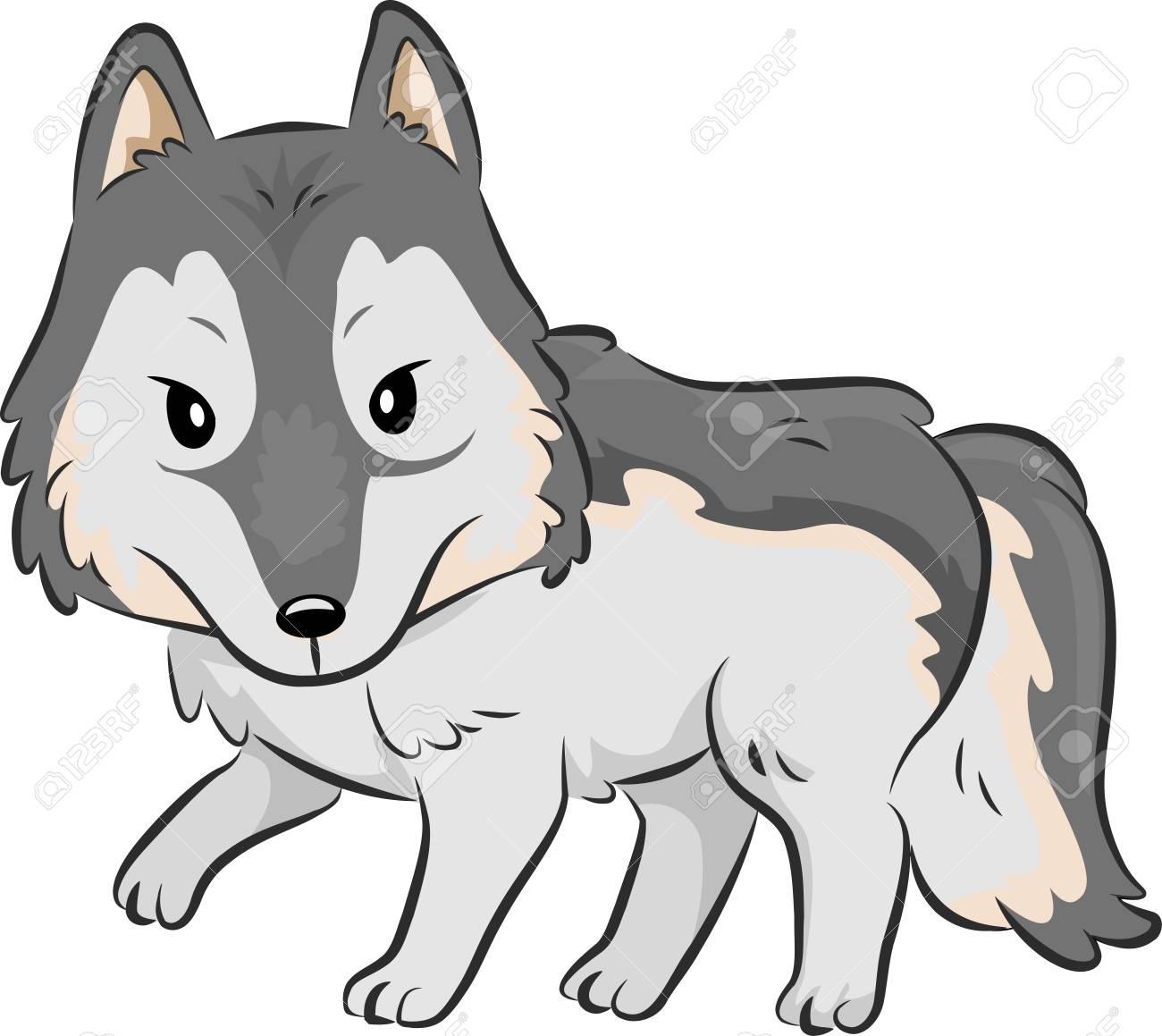 散策狼のキュートなイラスト の写真素材画像素材 Image 43639101