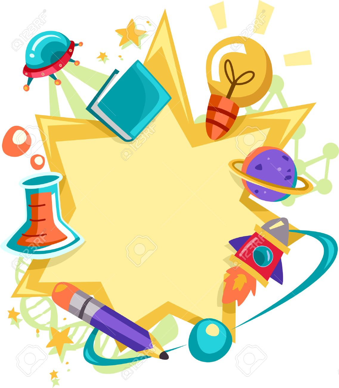 Frame Illustration Featuring Science Related Items Stock Photo ...