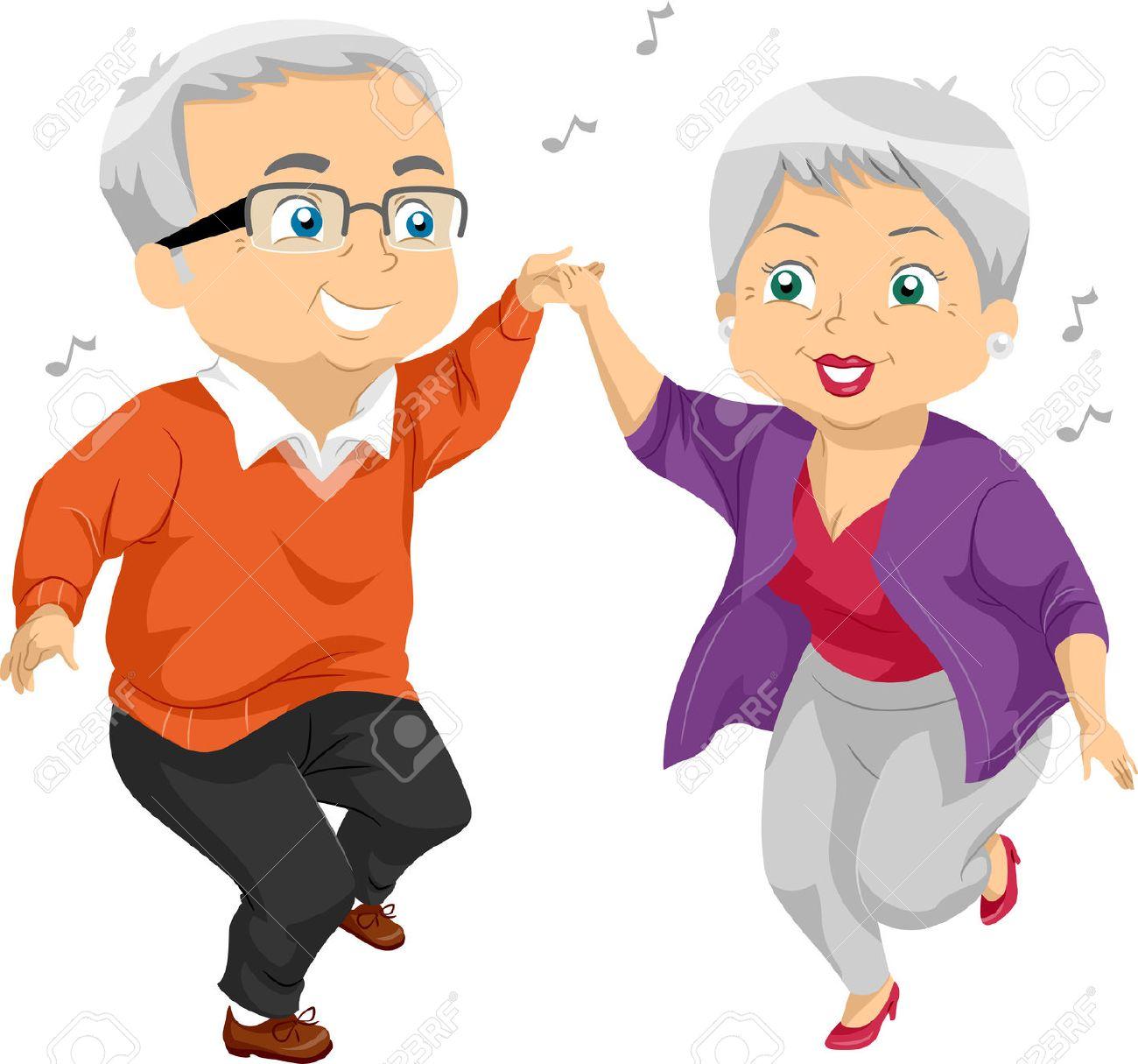 パーティーで高齢者のカップル ダンスのイラスト ロイヤリティーフリー