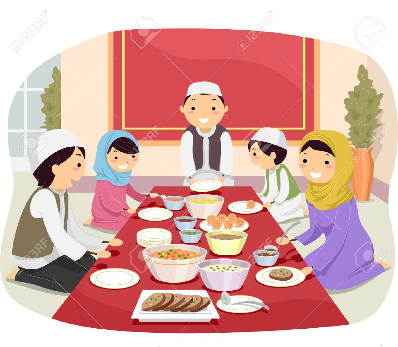 Stickman Illustration Of A Muslim Family Eating Together Stock