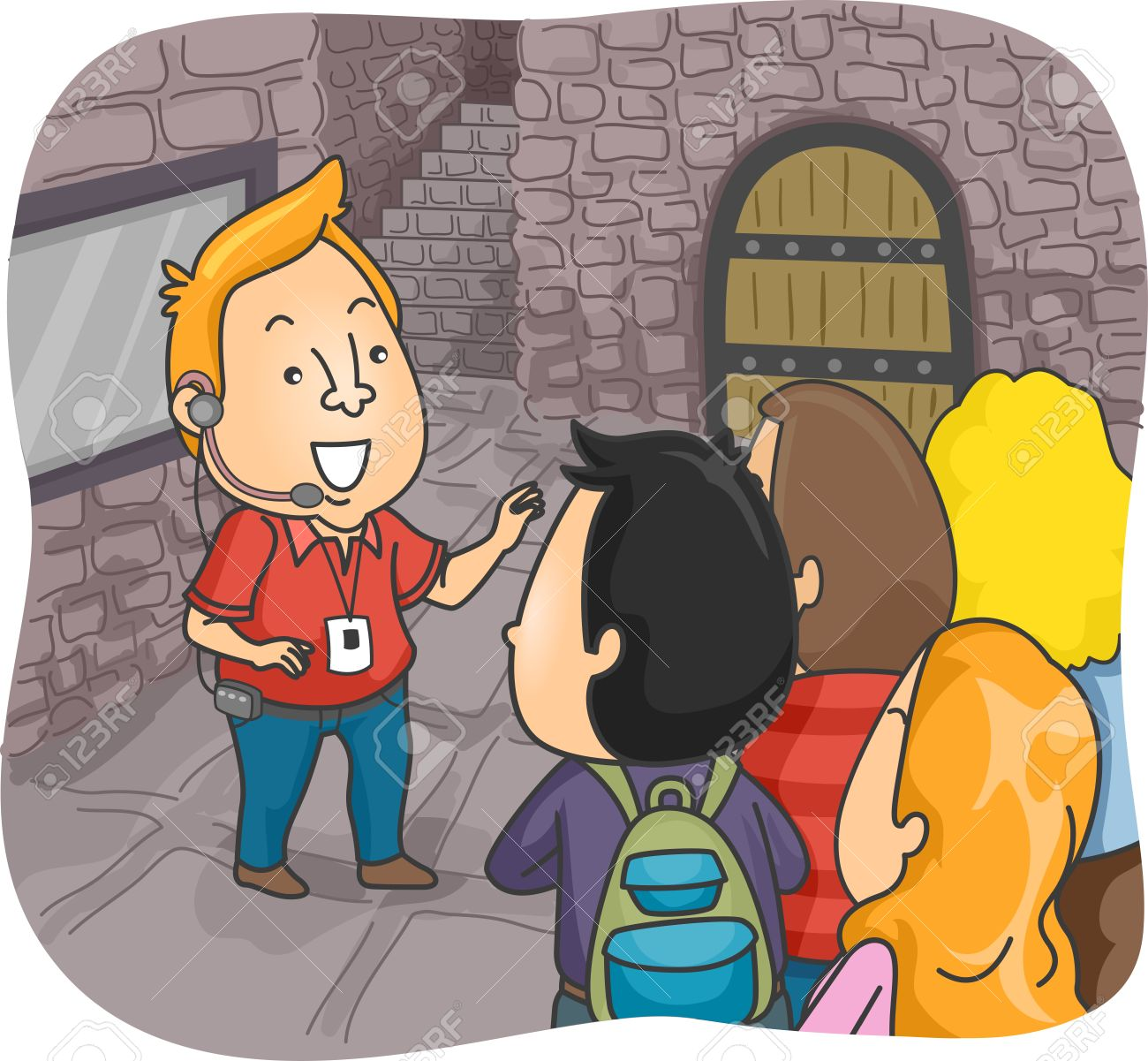 Illustration Of A Tour Guide Guiding Group Tourists Inside