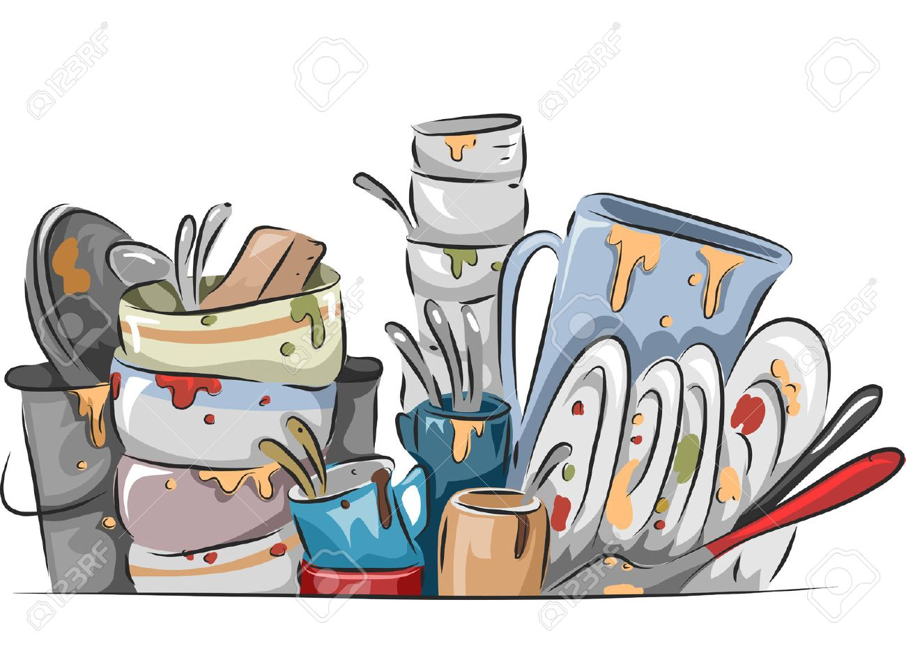 illustration of a stack of dirty dishes waiting to be washed stock rh 123rf com dirty dishes clip art image washing dirty dishes clipart
