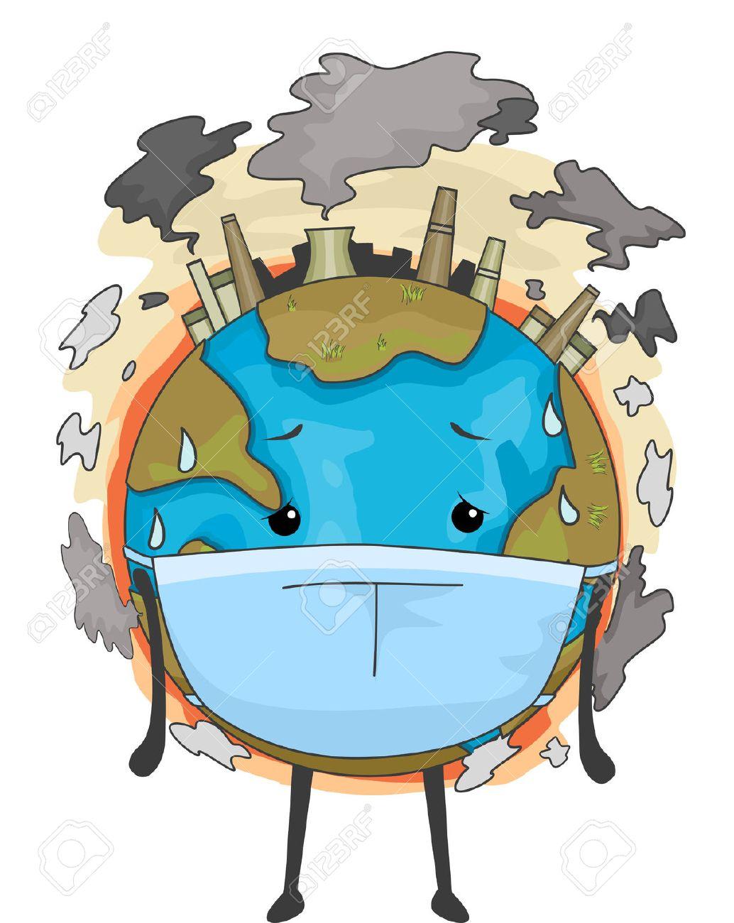 大気汚染に対処するためにサージカル マスクを身に着けている地球の