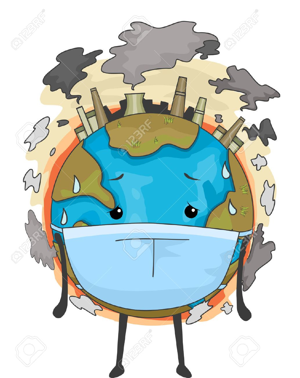 Image result for a cartoon picture of the world in smog