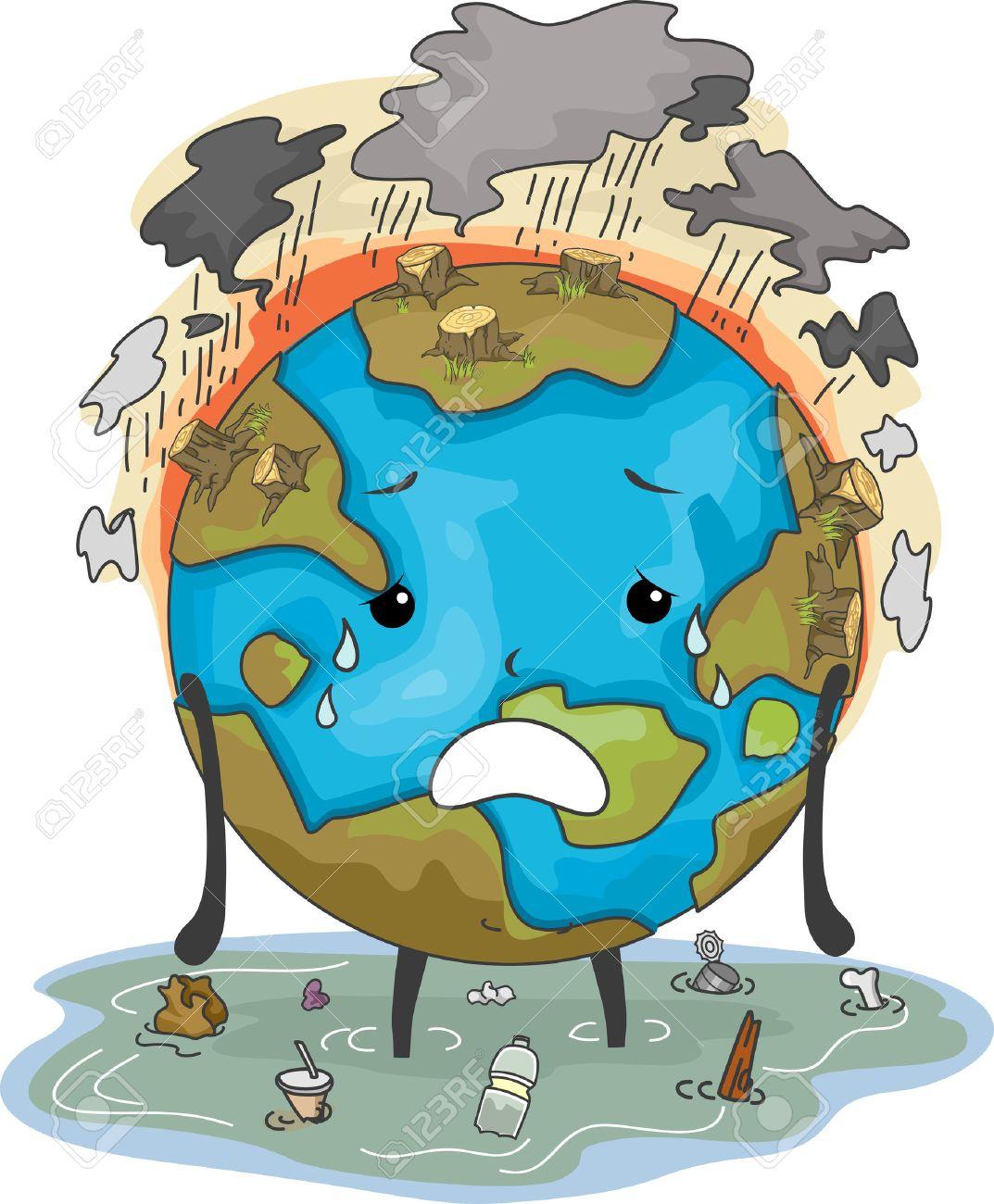 Mascot Illustration Comportant La Terre Victimes D Inondations Et De La Pollution Atmosphérique Déforestation