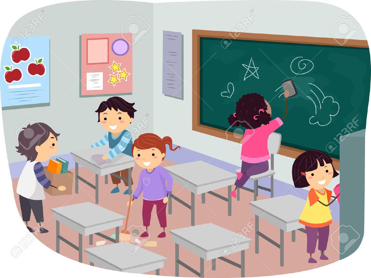 教室で一緒に掃除棒人間子供のイラスト の写真素材画像素材 Image