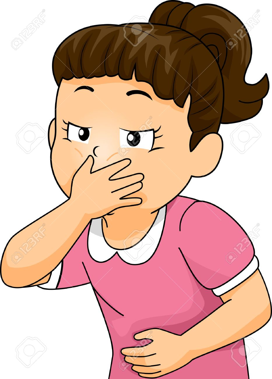 illustration of a little girl about to throw up covering her.. stock