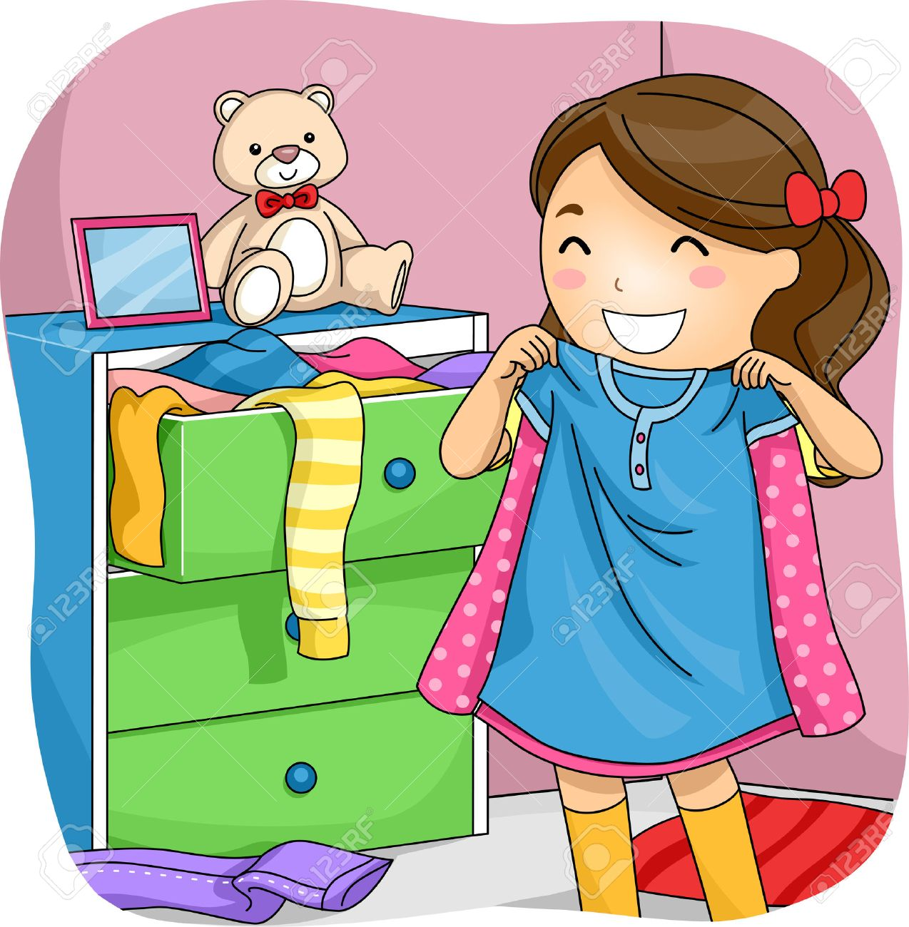 Illustration Of A Little Girl Pulling Clothes From Her Drawer To Choose