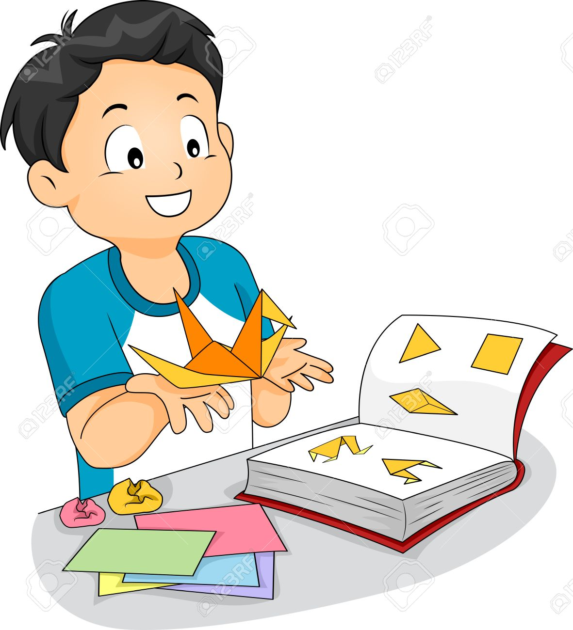 Illustration of a little boy following an origami book to make illustration of a little boy following an origami book to make a paper crane stock illustration jeuxipadfo Image collections