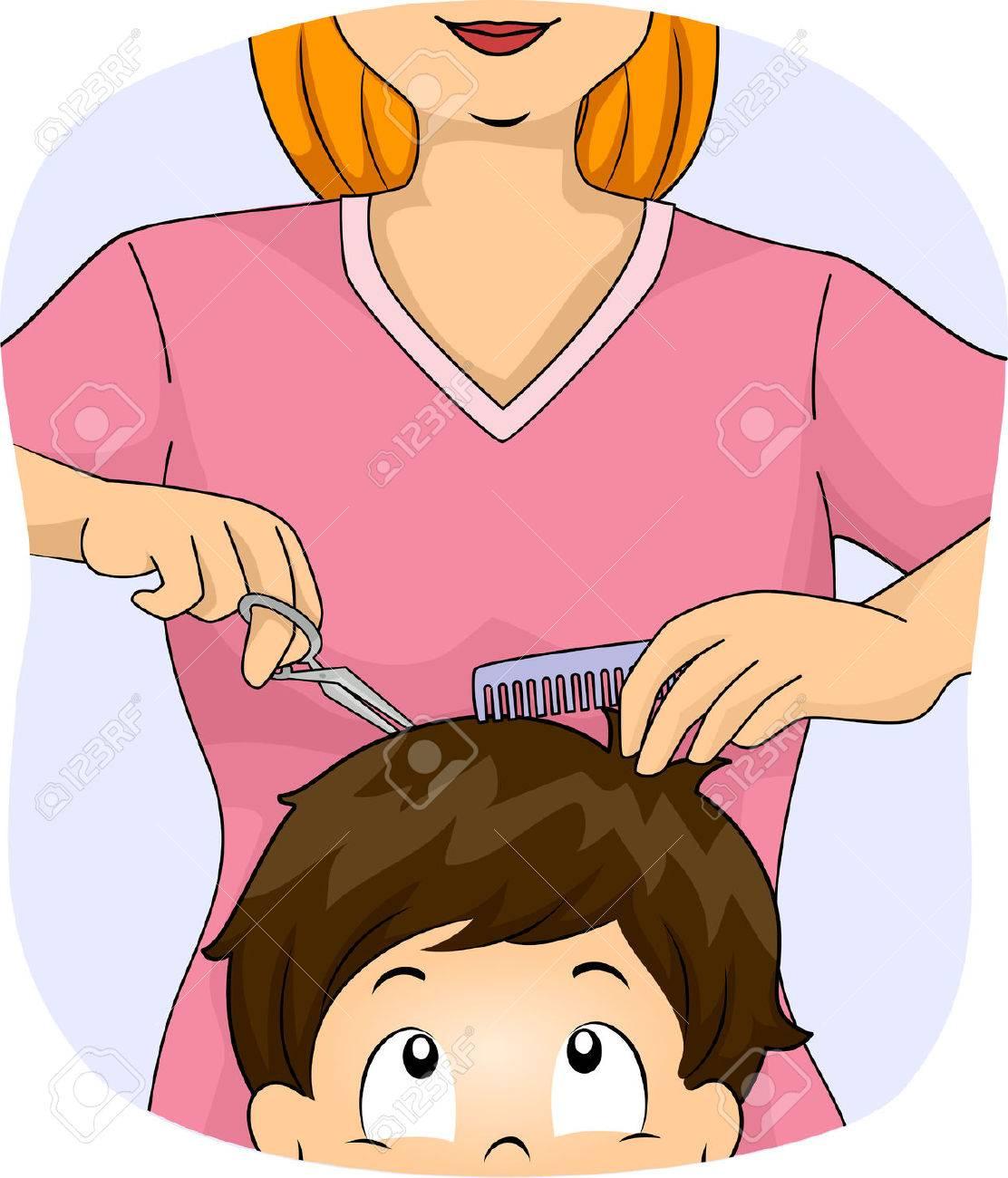 理髪店で散髪を取得する小さな男の子のイラスト の写真素材画像素材