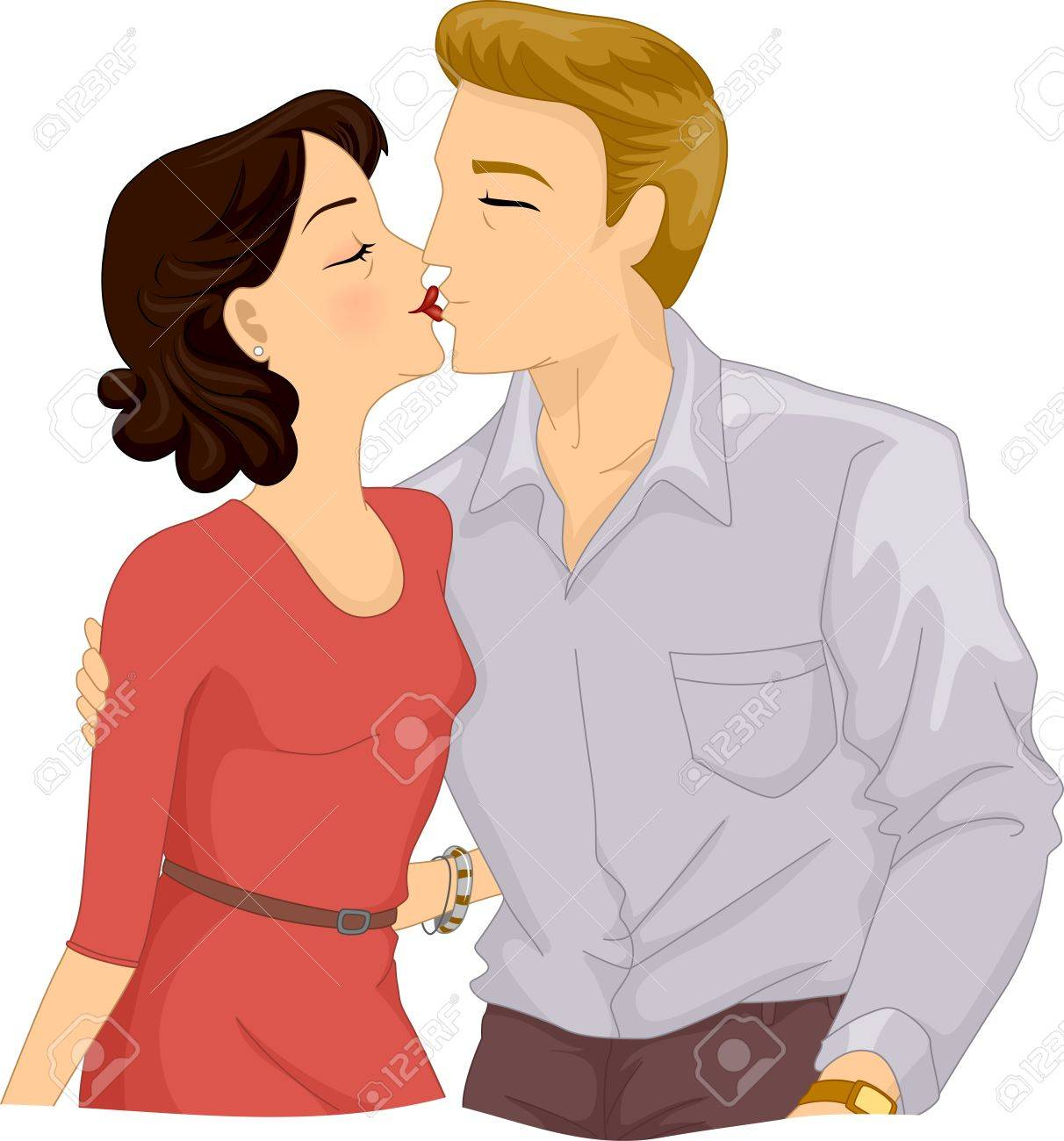 それ以上の年齢のカップル キス唇にロマンチックなイラスト