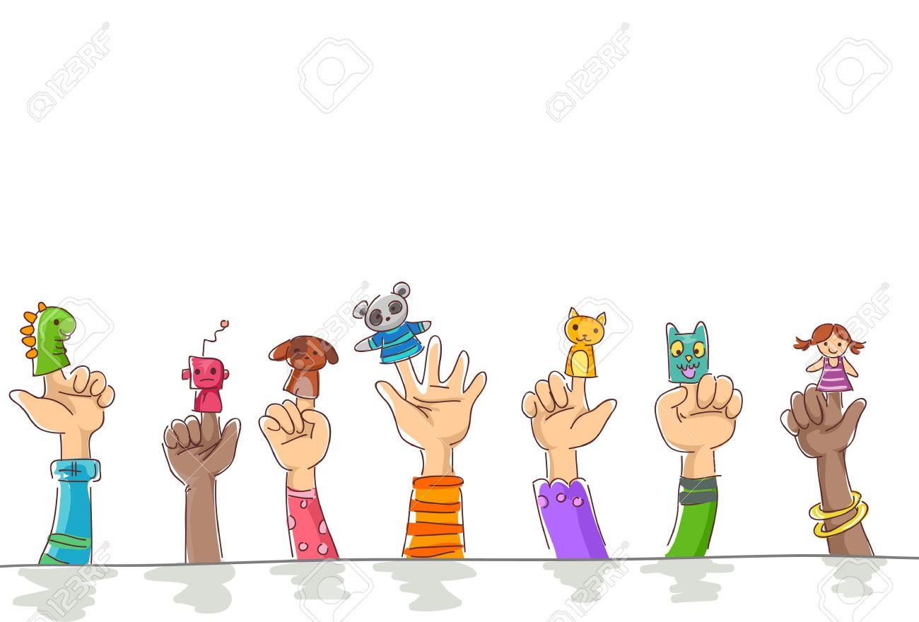 かわいいペットとロボットの指人形を身に着けている子供の枠イラスト の