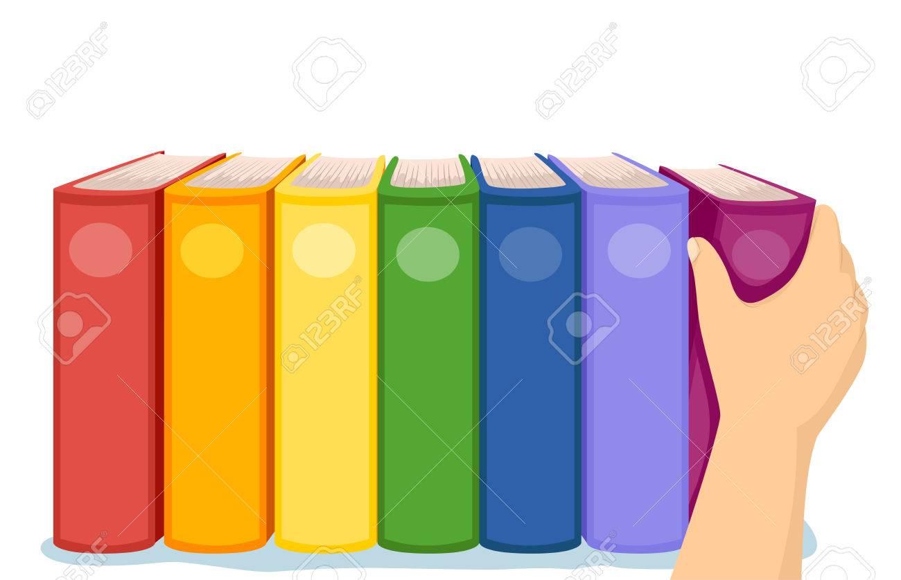 Ilustración Recortada De Una Mano Arreglar Libros Coloridos En Un ...