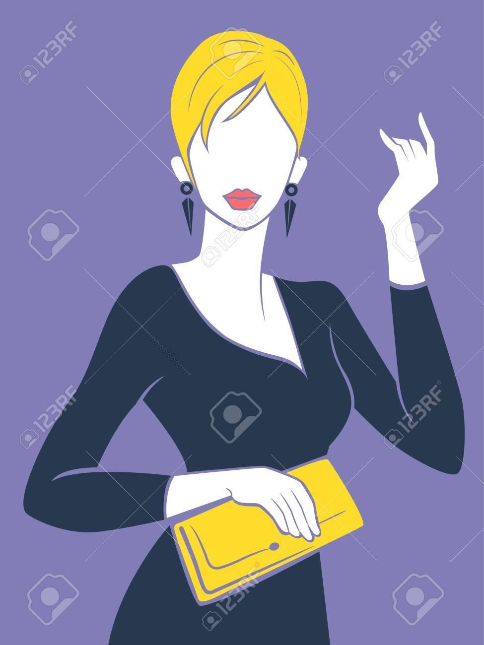 Foto de archivo - Ilustración de una chica de moda que sostiene un bolso de  mano del amarillo 02a695b1873