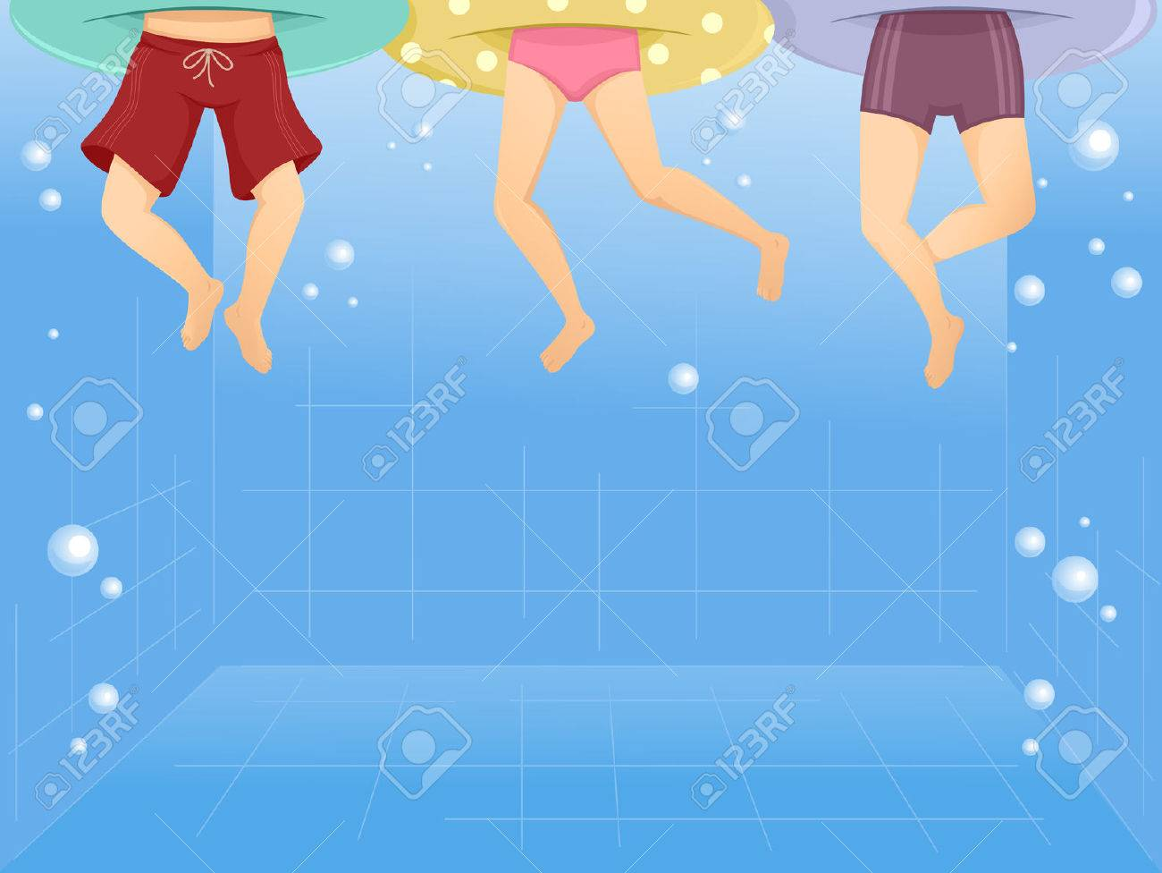 Illustration Of Kids Wearing Floaters Swimming In A Pool Stock Illustration    48026273