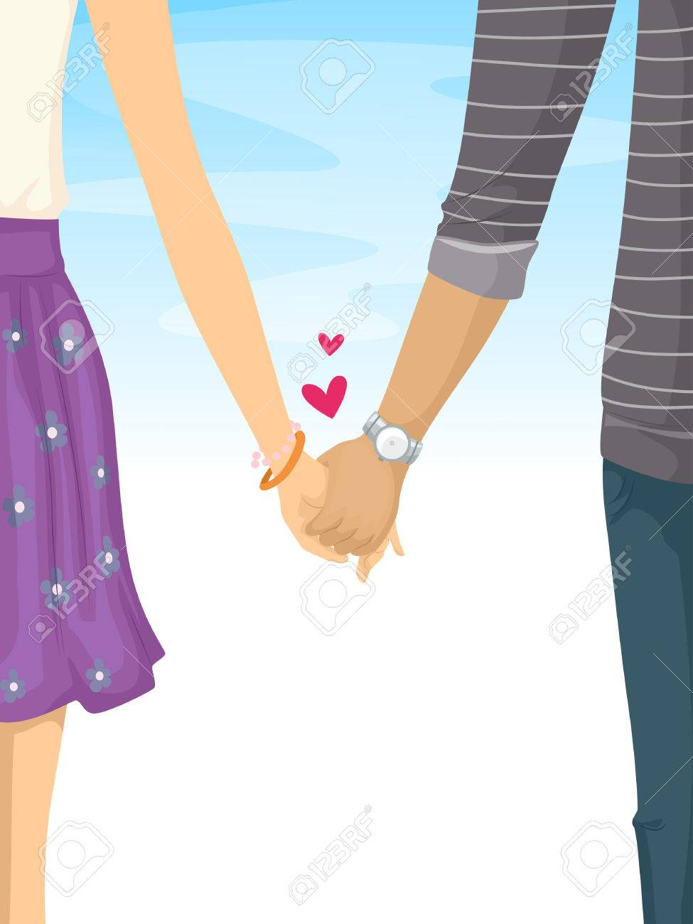 Illustration of a lovey dovey teen couple holding hands stock illustration 48026348