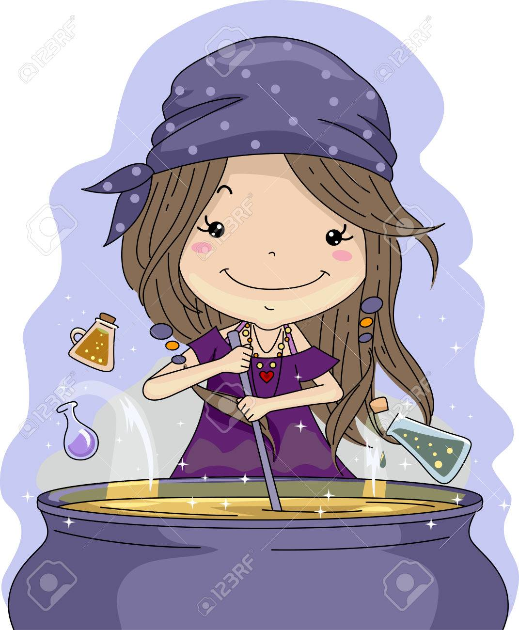 illustration of a little girl mixing potions in a cauldron stock