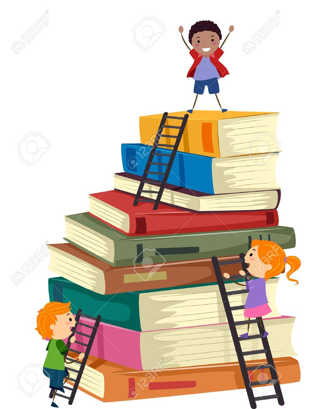 stickman illustration of kids climbing a tall stack of books stock rh 123rf com