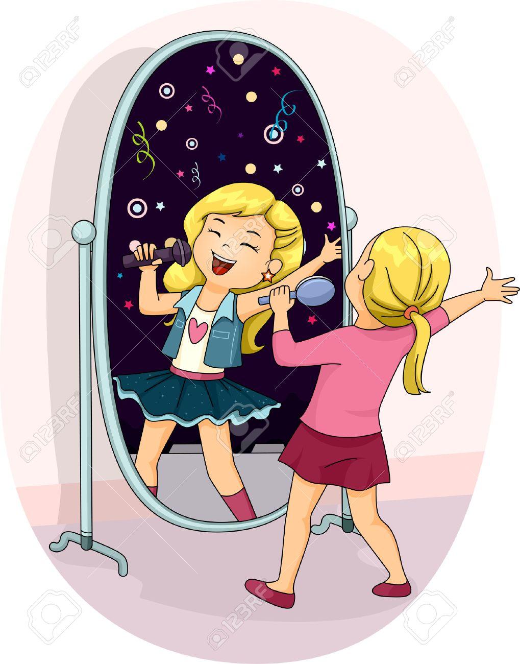 鏡の前で彼女の心を歌っている女の子のイラスト の写真素材画像素材